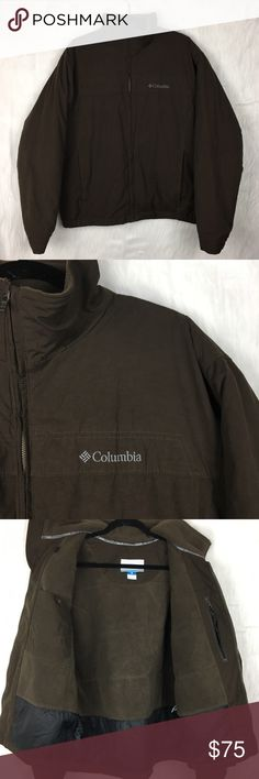 """Columbia Brown Puffer Coat columbia brown puffer coat. heavily insulated. water resistant. zip up mock neck. two front pockets. super warm and versatile! also have this available in olive green!  size: men's large  measurements: chest 25"""" across / waist 25"""" across / length 27"""" / sleeve inseam 22"""" fabric content: 41% cotton, 40% polyester, 19% nylon washing instructions: machine wash flaws: none discounts: 10% off bundles of 2 items and 15% off bundles of 3+ items Columbia Jackets & Coats…"""