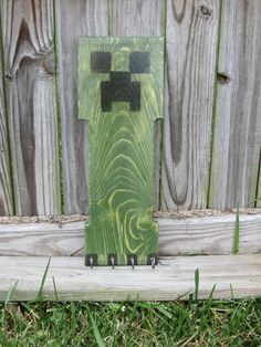 Green monster wall hanging with optional key by HickoryWoodworks