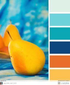 Gostei como o azul se integra com o laranja, são duas cores que sou apaixonada! Dá para pensar alguma coisa para pintura externa da casa e cor das janelas,,,