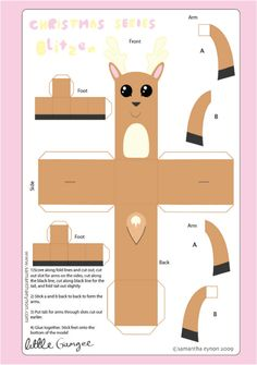 Blog Paper Toy christmas papertoys Samantha Eynon Blitzen template preview1 Christmas papertoys de Samantha Eynon