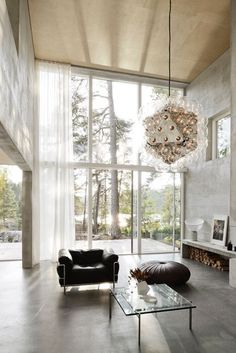 """interior-design-home: """" Double-height living area with amazing views of the surrounding forest in this home in Saltsjö-Boo, a coastal area just outside Stockholm. Living Room Modern, Living Area, Living Room Decor, Living Spaces, Living Rooms, Home Interior Design, Interior Architecture, Room Interior, Sweden House"""