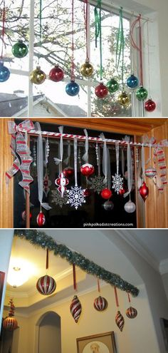 [orginial_title] – DIY Ideas & Home Decor Tension Rod Tricks You Never Thought of Around the Home Wind the garland around and around the tension rod and then hang Christmas ornaments on it. Homemade Christmas, Diy Christmas Gifts, Christmas Projects, Winter Christmas, All Things Christmas, Christmas Home, Christmas Ornaments, Christmas Kitchen, Holiday Crafts