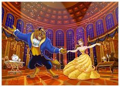 Belle and the Beast dancing in the royal ballroom Beauty And Beast Birthday, Beauty And The Beast Movie, Disney Wiki, Disney Art, Disney Reveal, Cartoon Caracters, Belle And Beast, Disney Magic Kingdom, Disney Fanatic