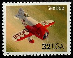 Classic Aircraft Gee Bee USA -Handmade Framed Postage Stamp Art 18362