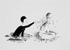 El artista coreano Daehyun Kim aplica tinta negra sobre papel blanco para dibujar pequeñas escenas que son como koanes visuales