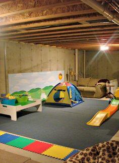 Stunning Basetment Playroom Ideas for Kids Playroom Decor, Playroom Ideas, Building Plans, Children Playroom, Tent, Basement, Kids, Decorating Ideas, Young Children