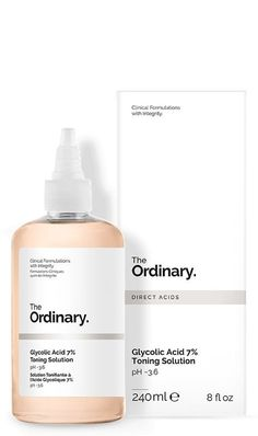 The Ordinary Glycolic Acid Toning Solution - Care - Skin care , beauty ideas and skin care tips Chemisches Peeling, The Ordinary Glycolic Acid, Alpha Hydroxy Acid, How To Exfoliate Skin, Water Flowers, Even Skin Tone, Cotton Pads, Skin Care, Beauty