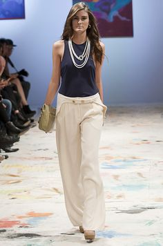 Chloe love the loose linen pants, simple tank and pearls, Classic. Adore!!
