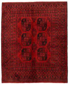 "5' x 6'1"" AFGHAN TURKMEN Tribal Hand Knotted Wool RED BLACK New Oriental Rug #Unbranded #AfghanTurkmenGeometricTribal"