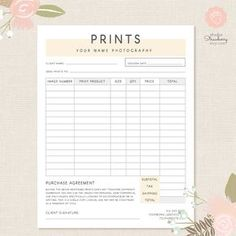 Order Form Template Photography By StudioStrawberry Portrait Tricks Contract