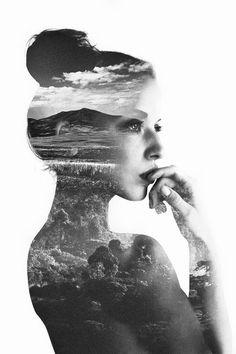 self portraits, art, white, couple portraits, inspir, beauti, doubl exposur, black, photographi