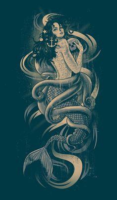 Puss in Boots 😺 Pirate Mermaid Tattoo, Mermaid Anchor Tattoo, Mermaid Thigh Tattoo, Capricorn Mermaid Tattoo, Nautical Tattoo Sleeve, Nautical Tattoos, Kraken Tattoo, Siren Tattoo, Siren Mermaid Tattoos