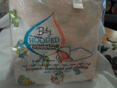 Vintage Rosebud Nursery Baby Flannel Hooded Receiving Blanket Cotton Unused   eBay