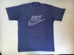 90a13f25620f NIKE SWOOSH Shirt 80 s Vintage  Original Blue Tag Label Super Soft   Thin  SHEER Perfect Wear! Tshirt  One-Of-A-Kind! Poly Cotton UsA Large