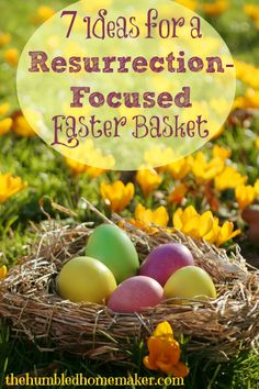7 Ideas for a Resurrection-Focused Easter Basket.  Sure, we do give our girls some candy (check out these allergen-free Easter treat ideas!), but we try to be intentional with the contents of our Easter baskets in reflecting back to Jesus.  The Humbled Homemaker