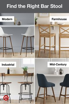 Need bar stool ideas to match your kitchen? Find farmhouse, industrial, modern & traditional styles in many sizes.