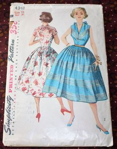 1950's Original Sewing Pattern Dress Bust 29 by SewDecadesAgo