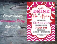 Valentines Day Party Invitation Printable by FeatheredHeartPrints, $15.00 Eat Drink and Be Mine- Valentines Day Hearts and Chevron Invitation