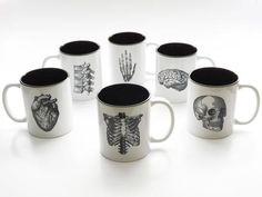 Anatomy Theme Coffee MUGS Set of Six medical home decor goth kitchen gift