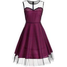 Sleeveless Mesh Panel Vintage Dress ($20) ❤ liked on Polyvore featuring dresses, mesh insert dress, sleeveless dress, mesh inset dress, no sleeve dress and vintage dresses