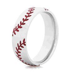 Titanium RingTitanium Baseball Wedding RingMens Wedding Band