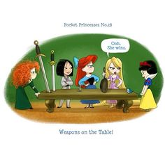 Pocket Princesses by Amy Mebberson # Merida, Mulan, Ariel, Rapunzel, and Snow White Disney Magic, Disney Pixar, Walt Disney, Disney E Dreamworks, Cute Disney, Disney Girls, Disney Movies, Funny Disney, Disney Nerd