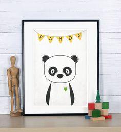 Retro poster - panda, forest animals - vintage print, A3, nursery wall decoration, retro wall decor, cute baby animal