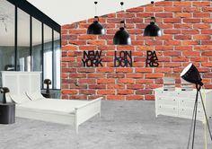 chambre décoration intérieure style industriel indus mur fausses brique papier peint trompe l'oeil 2d horloge heure du monde new york london verrière collection vénitienne Interior's