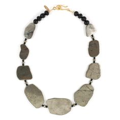 Arnica Necklace - pyrite slabs with onyx and black jet.
