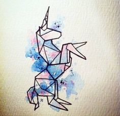 New origami drawing crafts ideas Art Inspo, Kunst Inspo, Geometric Drawing, Geometric Art, Geometric Tattoo Unicorn, Origami Unicorn Tattoo, Unicorn Drawing, Unicorn Sketch, Unicorn Painting