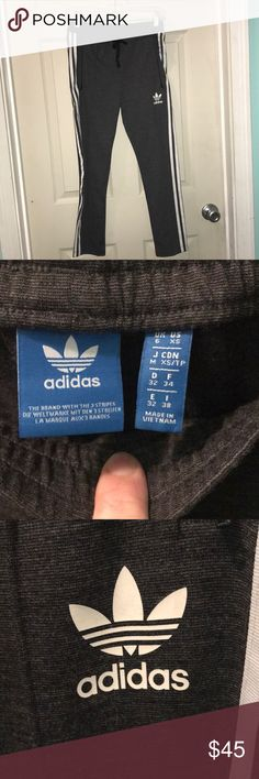 Adidas track pants Brand new without tags.  My daughter took them off to try them on and they were too short and the tags were lost.  Never worn except tried on. adidas Pants Track Pants & Joggers