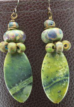 Rustic Primitive Earthy Tribal Green Serpentine Earrings by ChrisKaitlynJewelry on Etsy