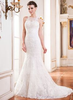 Wedding Dresses - $299.99 - Trumpet/Mermaid Scoop Neck Court Train Tulle Lace Wedding Dress With Beading Sequins (002051617) http://jjshouse.com/Trumpet-Mermaid-Scoop-Neck-Court-Train-Tulle-Lace-Wedding-Dress-With-Beading-Sequins-002051617-g51617