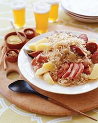 Choucroute Garnie - Jacques Pepin. Better than your run-of-the-mill sausage and sauekraut -- and more expensive. Pork Recipes, Wine Recipes, Cooking Recipes, Jacques Pepin Recipes, Jacque Pepin, Pork Dishes, French Food, Sauerkraut, One Pot Meals