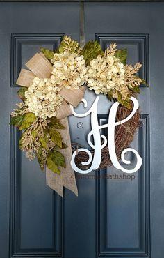 All Season Wreath , Everyday Grapevine Wreath Monogram, Year Round Wreath Initial,Spring Wreath for Front door, Hydrangea Cream Wreath Wedding Door Wreaths, Summer Door Wreaths, Fall Wreaths, Wreaths For Front Door, Fall Door Decorations, Thanksgiving Decorations, Year Round Wreath, Hydrangea Wreath, Monogram Wreath