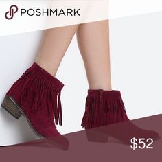 Burgundy Suede Fringe Booties Wine Burgundy Fringe Booties. Coming soon! Preorder your size now! ❤️ clmayfae Shoes Ankle Boots & Booties