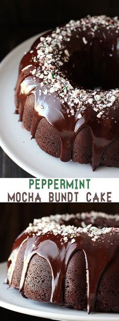 Peppermint Mocha Bundt Cake is the absolute PERFECT holiday cake! It's as easy as it is beautiful and loaded with chocolate, coffee, and peppermint flavors. Tea Cakes, Bunt Cakes, Holiday Cakes, Christmas Desserts, Christmas Holidays, Christmas Bundt Cakes, Easy Holiday Desserts, Holiday Treats, Holiday Baking