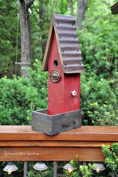 Rustic Birdhouse The Garden House by RebeccasBirdGardens on Etsy