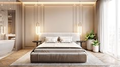 Interior design of apartment. Modern apartment with classic elements. In soft, light colors. Modern Classic Bedroom, Modern Classic Interior, Contemporary Interior Design, Living Room Modern, Room Interior Design, Design Bedroom, Modern Design, Luxury Home Decor, Luxury Interior