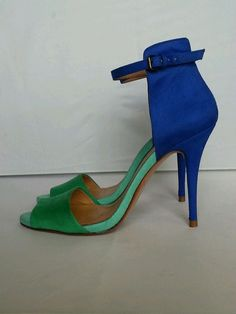 Zara Collection Blue And Green Suede Ankle Strap Sandals Pumps Heels Shoe Sz 38 #ZaraCollection #OpenToe