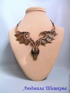 """Купить Колье """"Дракон"""" - коричневый, wire wrap, дракон, колье дракон, украшение из меди"""