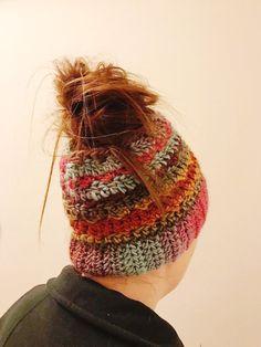 ad34c054113 Crochet ponytail hat Messy bun hat sloppy by knickknackshackattak ...