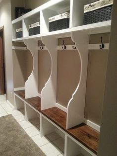 Mudroom Locker System | Do It Yourself Home Projects from Ana White  I like how the shoe area isn't boxed in...easy to clean dirty floor...