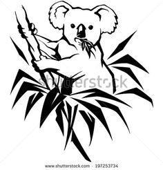 koala on a tree with leaves, australia, isolated figure, vector illustration - stock vector