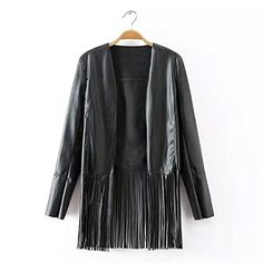 xiaoming Women's Street Fashion Black Faux Tassels Fringe PU Leather Open Jacket  1. Xiaoming is a popular modern fashion brand£¬since the inception of the brand, always adhere to the elegant, succinct design style£¬combine with the needs of local consumer groups and grasp the latest design trends, always create different kinds of cloths for women in business, leisure and sports. People can find another aspect from Xiaoming.  2. We would like to thank you for the interest you express..