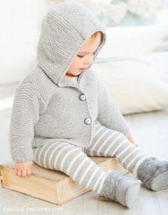 Baby cardigan cappuccio Baby Boy Knitting Patterns, Baby Sweater Patterns, Baby Cardigan Knitting Pattern, Baby Patterns, Baby Boy Sweater, Baby Coat, Baby Sweaters, Crochet Baby Jacket, Jacket Pattern
