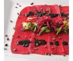 Recette: Carpaccio de bison avec vinaigrette au cacao
