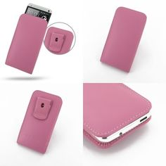 PDair Leather Case for The New HTC One 801e 801s - Vertical Pouch Type Belt Clip Included (Petal Pink)