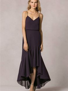 Spaghetti Straps Chiffon Ruched High-low Grape A-line Zipper Sleeveless Bridesmaid / Wedding Party Dresses