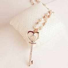 . Key Jewelry, Jewelery, Jewelry Ideas, Key Necklace, Necklaces, Vintage Keys, Key To My Heart, Lilac, Pink